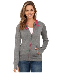 The North Face Fave Full Zip Hoodie Heather Grey Rose Red Women's Sweatshirt Gray