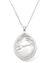 Ippolita Stella Large Teardrop Pendant Necklace In Mother Of Pearl With Diamonds Silver