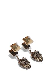 Valentino Brass Lion Drop Earrings In Gold