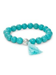 Lord And Taylor Beaded Tassel Bracelet Turquoise
