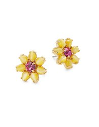 Kate Spade Brilliant Bouquet Floral Crystal Postback Earrings Yellow