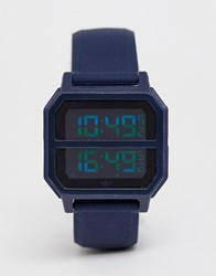 Adidas R2 Archive Digital Silicone Watch In Navy
