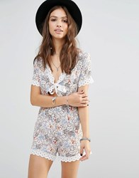 Young Bohemians Romper With Tie Front And Lace Trim Hems Multi