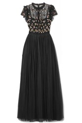 Needle And Thread Rococo Sequined Point D'esprit Embroidered Tulle Gown Black
