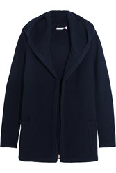 Chinti And Parker Merino Wool And Cashmere Blend Hooded Cardigan Navy