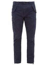 Polo Ralph Lauren Tapered Leg Slubbed Cotton Cargo Trousers Navy