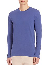 Saks Fifth Avenue Slub Knit Crewneck Tee Blue