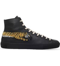 Gucci Major Tiger Leather High Top Trainers Black