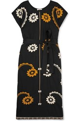 Tory Burch Belted Embroidered Cotton Midi Dress Black