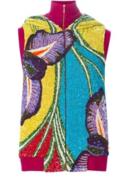 Manish Arora Sequins Embroidered Hooded Vest Pink And Purple