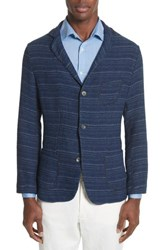 Eidos Napoli Nicola Barre Stripe Cotton Jacket Indigo