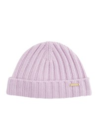 Burberry Shoes And Accessories Wool Cashmere Ribbed Beanie Female Lilac