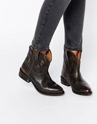 Mango Leather Western Ankle Boot Brown
