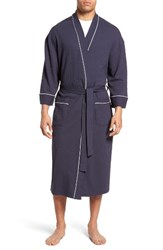 Majestic International Men's Waffle Knit Robe Navy