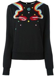Olympia Le Tan Smoking Lips Beaded Sweatshirt Black