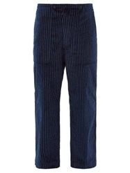 Needles Chalk Striped Wide Leg Cotton Trousers Navy