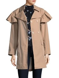 Rebecca Taylor Faille Belted Trench Coat Dune