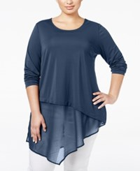 Alfani Plus Size Asymmetric Mixed Media Tunic Only At Macy's Global Blue