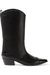 Tomas Maier Patent Trimmed Laser Cut Leather Boots Black