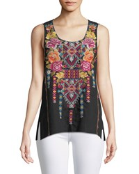 Johnny Was Vella Embroidered Linen Tank Black