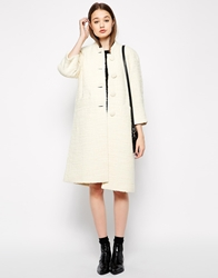 Ymc Collarless Coat With Cropped Sleeves Cream