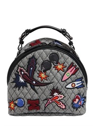 Msgm Patched Quilted Wool Felt Backpack