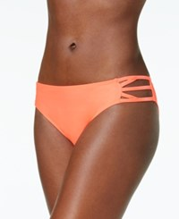 California Waves Strappy Hipster Bikini Bottoms Women's Swimsuit Coral