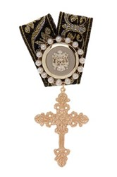 Cara Accessories Synthetic Pearl And Cross Embellished Small Ribbon Pin Metallic