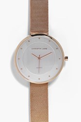 Boohoo Metal Strap Minimalist Face Watch Rose Gold