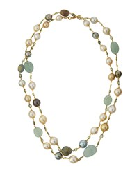 Belpearl Long 14K Tahitian And South Sea Pearl And Gemstone Rope Necklace 11.5