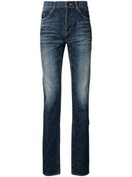 Saint Laurent High Rise Skinny Jeans Blue