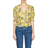 Icons Ruffled Floral Wrap Top Yellow
