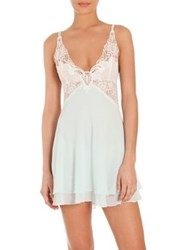 Jonquil Mist Chiffon Chemise And Thong Ivory Light Blue