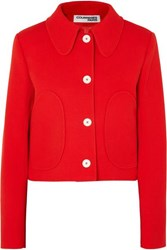 Courreges Cropped Wool Twill Jacket Red