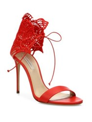 Casadei Crochet Leather Sandals Red
