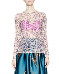 Dries Van Noten Hasty Long Sleeve Squiggle Print Tattoo Mesh Top Purple Nude