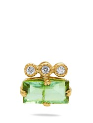 Jacquie Aiche Diamond Tourmaline And Yellow Gold Earring Green