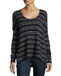 Three Dots Gemma Stripe Print Sweater Black