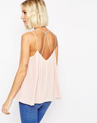 Asos Plunge Neck Pleated Cami Top With Strappy Back Blush