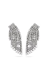 Saint Laurent Smoking Crystal Embellished Clip On Earrings Silver
