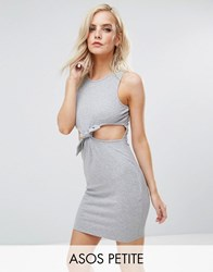 Asos Petite Mini Bodycon With Cut Out Tie Waist In Rib Grey