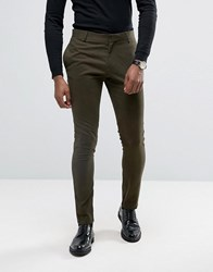 Religion Super Skinny Suit Trousers With Zip Detail Khaki Green