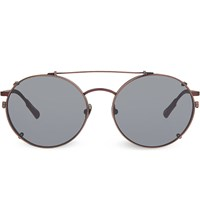 Kris Van Assche Kva70 Unique Circular Combination Aviator Sunglasses Matt Burgundy