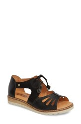 Pikolinos Alcudia Lace Up Sandal Black Leather