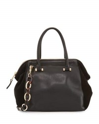 French Connection Devin Suede Panel Satchel Bag Black