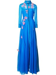 Carolina Herrera Embroidered Trench Gown Silk Blue