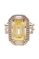 Judith Ripka Sterling Silver Avery Baguette Wrap Emerald Cut Canary Crystal Ring Size 7 Yellow