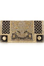 Balmain Metallic Embroidered Leather Clutch
