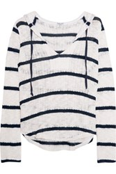 Splendid Hooded Striped Open Knit Cotton And Modal Blend Sweater White