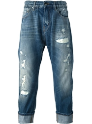 Les Hommes Distressed High Waist Cropped Jeans